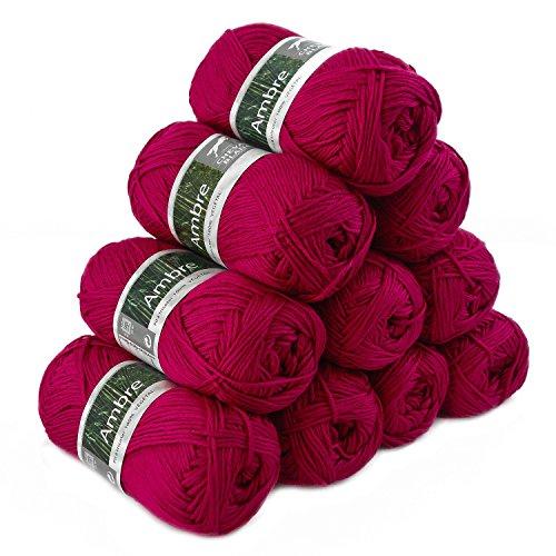 maDDma ® 500g Strickgarn Ambre Strickwolle Häkelgarn Bambus Viskose Verschiedene Farbwahl, Farbe:Kirsche -