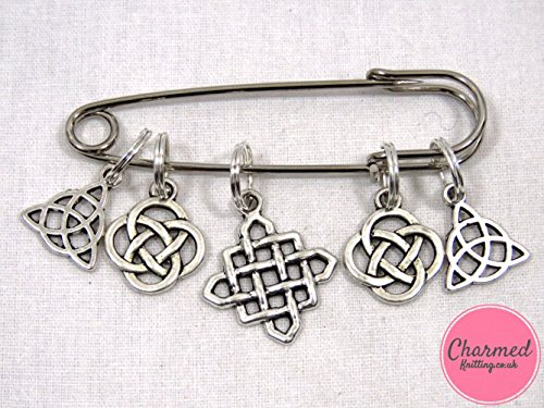 Celtic Knots - Silver Knitting Stitch Markers by Charmed Knitting