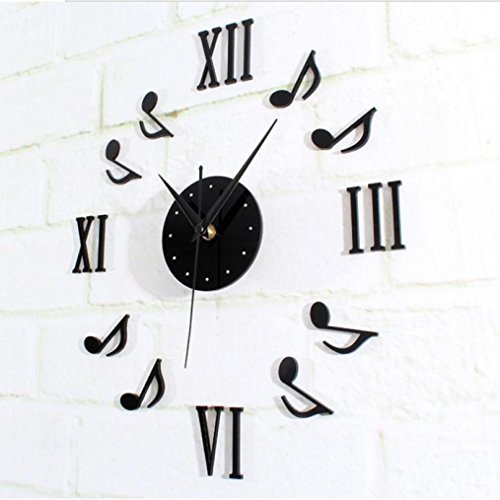 FEITONG Combinación de notación musical Reloj vinilo decorativo de pared DIY 3D (Negro)