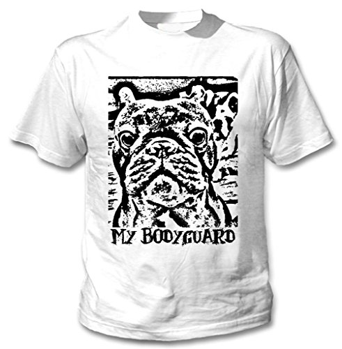 Teesquare1st Men's FRENCH BULLDOG MY BODYGUARD PB 25 White T-Shirt Size XXXLarge