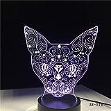 Katze 3D Nachtlicht Tier Veränderbar Stimmung Lampe 7 Farben Usb 3D Illusion Tischlampe Für Zuhause Dekorative Als Kinder Spielzeug Geschenk Without remote control