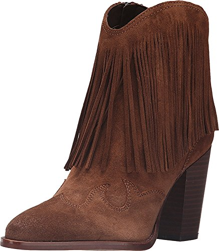 Tronchetto texano con tacco Sam Edelman Benjie in camoscio marrone cuoio Woodland Brown Velour Suede Leather