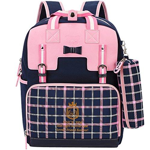 01378675dd Uniuooi Primary School Students Ergonomic Backpack Book Bag - Waterproof  Nylon Schoolbag for Boys Girls Gift 6-12 years old (Pink + Navy)