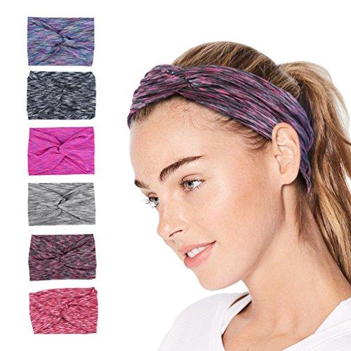 Vbiger Fasce per le donne Fasce avvolgenti per la testa di yoga umidificate Fascia per capelli alla moda, Set di 6