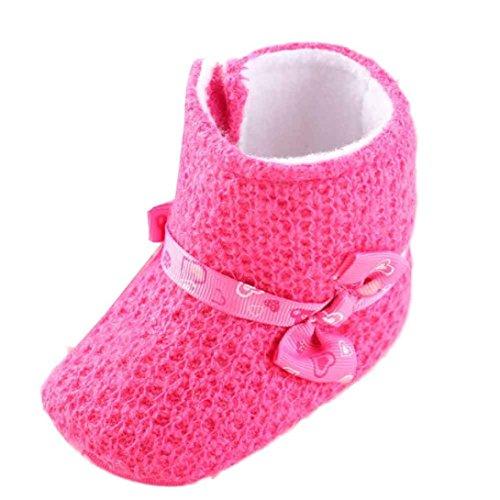 kingko® Bébé à tricoter Coton Sole Bottes de neige molle Crib Chaussures Bottes tout-petits (12, Violet) Hot Rose