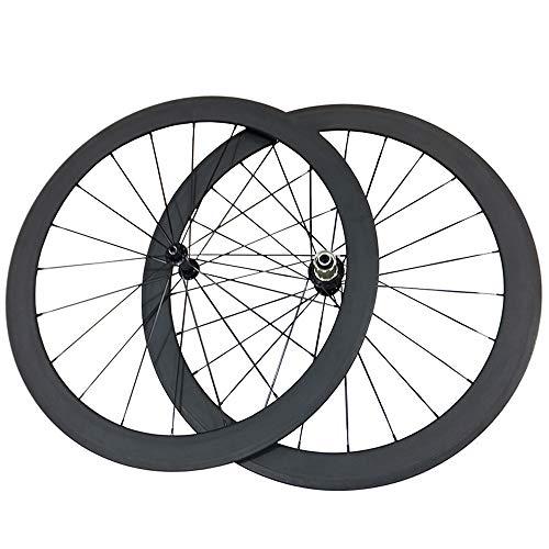 ESTTON Ultra Light 3K Matt 50 mm Fahrrad Laufradsatz Full 23 mm Breite Carbon Faser Drahtreifen Rennräder (50 mm, für Shimano 8/9/10/11 Geschwindigkeit)