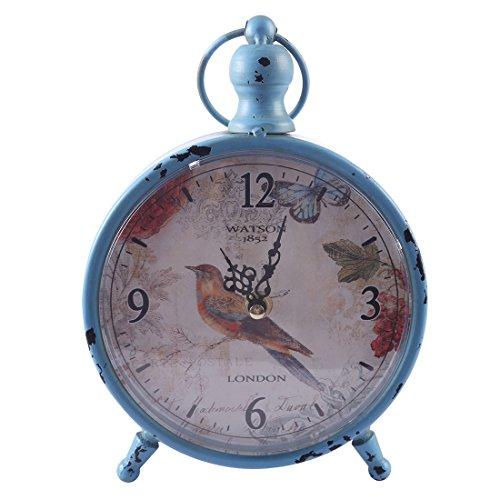 Mecotech Wecker Analog Tischuhr Nostalgie Vintage Retro Metall Standuhr Dekowecker Lautlos Wecker Uhr Tischuhr Ohne Ticken (Blau-3)