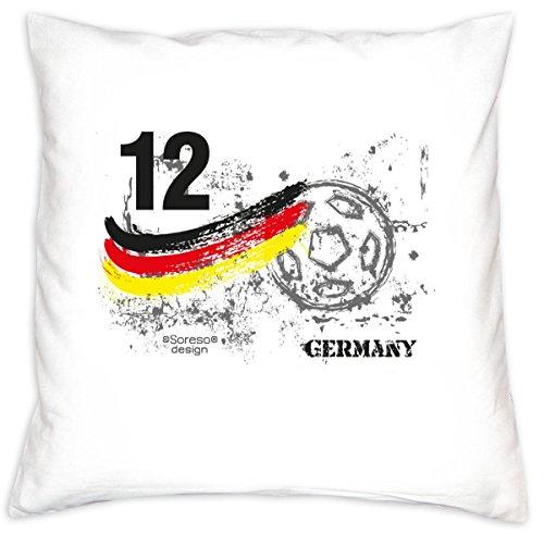 Preisvergleich Produktbild Fußball-Kissen ::: Nr. 12 Germany ::: Geschenk für Fußball Fans Deutschland ::: inkl. Füllung