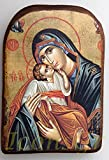 IconsGr Greek Orthodox Christian Icon of Jesus Christ and the Virgin, Wood, Handmade / MP2_6