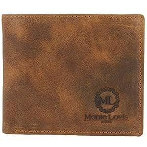 """Monte Lovis Herren Leder Geldbeutel Geldbörse """"Marco"""" mit Organizer für 9 Kreditkarten und Ausweis- Vintage Used Look Ledergeldbeutel - Rustikale robuste faltbare Brieftasche - 2 Geldscheinfächer"""