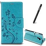 Slynmax Schutzhülle für Huawei Honor 7 Hülle Flip Leder Tasche [Schmetterling Blumen] Bunt Handyhülle Stoßfest KlapphülleHandytasche Etui Wallet Case RetroSlimLederhülle Ständer Kartenfächer (Blau)
