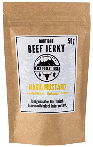 Black Forest Beef Jerky – Magic Mustard 5x50g, Handgemacht, Premium Trockenfleisch, Deutsches Weiderind