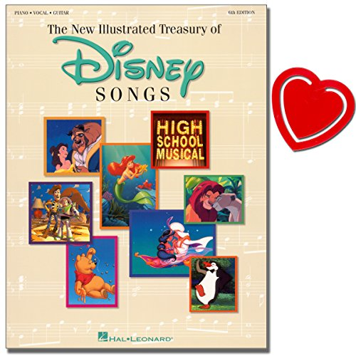 The Illustrated Treasury Of Disney Songs - Märchenwelt von Disney - Songbook [Gesang, Klavier, Gitarre] mit herzförmiger Notenklammer