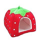 Bodhi2000® Niche pour chat ou chien en forme de fraise avec matelas chaud