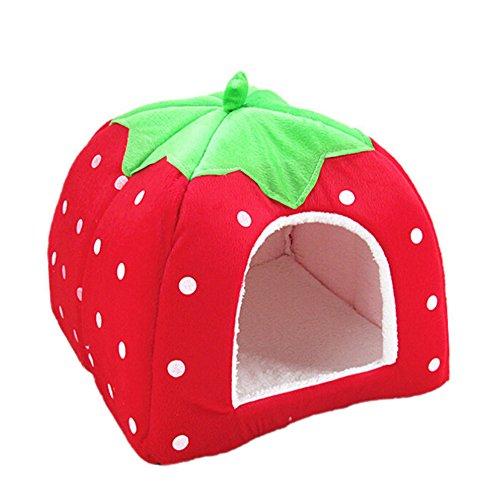 originaltree Strawberry Dog Cat House Bett Indoor Haustier Puppy Plüsch Matte der Käfig Korb Kissen - Pad Pet-erwärmung