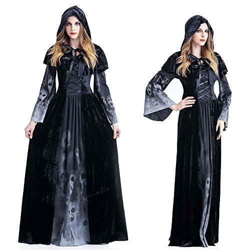 YMYM Halloween Vampir Kostüm Maskerade Umhang Schwarz Umhang Hexe Langes Kleid Erwachsene (Größe : L)