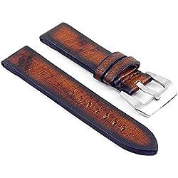 DASSARI Riviera Thick Vintage Italian Leather Watch Strap for Panerai in Rust 26mm