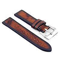 DASSARI Riviera Thick Vintage Italian Leather Watch Strap for Panerai in Rust 18mm