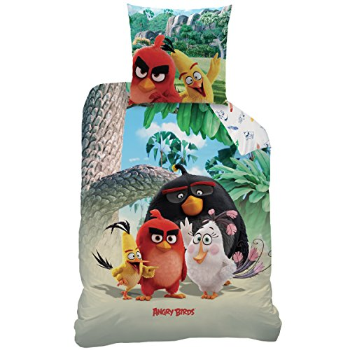 Angry Birds 043819 Bettwäsche Palm Beach, Baumwolle Renforce, 135 x 200 + 80 x 80 cm