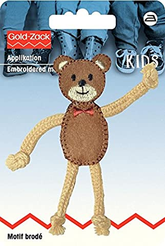 Prym Iron On Embroidered Motif Applique Teddy With Movable Arms & Legs - each