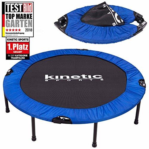 Kinetic Sports 1.Platz Testbild Auszeichnung Fitness Trampolin Indoor Minitrampolin Sprungtraining, Smart Jumping Workout, Durchmesser 122cm, faltbar, Belastbar bis 100kg