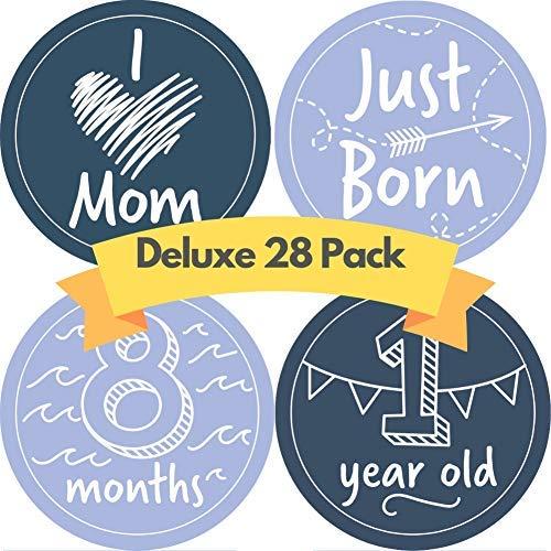 Monatsaufkleber für Babys, 28 Stück Enthält 12 Monate, Meilensteine des ersten Jahres und erste Feiertage. Perfektes Geschenk für Babyparty und Neugeborene.