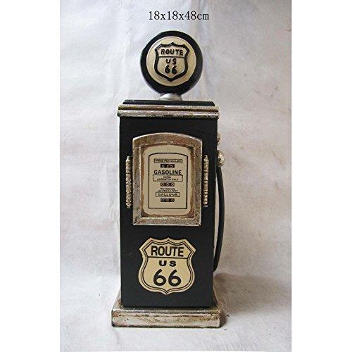 """Retro Vintage Schrank CD-Regal """"Route 66"""" Zapfsäule - dunkelgrün"""