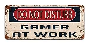 Do Not Disturb Gamer at Work - Vintage Effect Metal Sign / Plaque