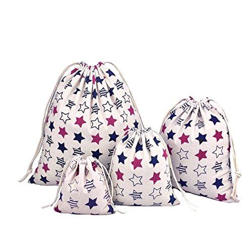 Amoyie Lot de 4 organiseurs de bagage, sac a linge sale bébé, personnalisés avec cordon de serrage, sac de cotonnade, sacs-cadeaux kawaii, trousses pour voyage scolaire cosmétique jouet, pochette organza