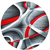 Bai Qian Gray Black Red White Swirls Round Door Mats Coral Velvet Memory Foam Floor Doormat,Non-Slip Entrance Waterproof Rugs 23.6Inch Diameter Circular Carpets for Office