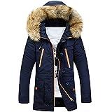 Newbestyle Winter Baumwolle Herren Wintermantel mit Pelzfragen Kapuzenjacke Outdoorjacke Winterjacke Warm Mantel Dunkelblau X-Large