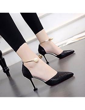 SDKIR-Gatto e le calzature donna, wild bene con la alta scarpe tacco, estate sexy sandali appuntita, perla calzature...