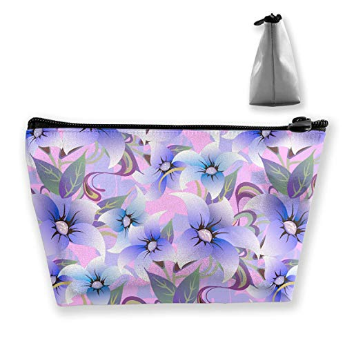 Floral Flower Purple Leaf Portable Cosmetic Bag Mobile Trapezoidal Storage Bag Travel Bags with Zipper ()