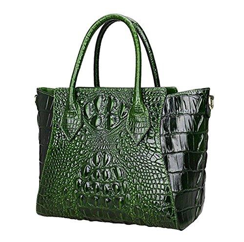 Jsix Borsa in Vera Pelle Borse Tote Donna Croc Paten Designer a spalla con tracolla staccabile Verde