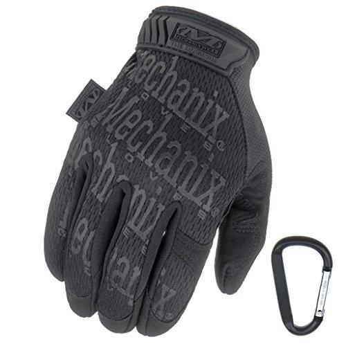 MECHANIX WEAR ORIGINAL Einsatz-Handschuhe, atmungsaktiv & abriebfest + Gear-Karabiner, Original Glove in Schwarz, Coyote, Multicam / Größe S, M, L, XL (XL, Schwarz / ()