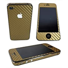 TCD for Apple iPhone 5 5S [GOLD] Carbon Fiber Vinyl Skin Warp Decal FULL BODY and Side Sticker Set - Adhesive - NO sticky residue Compatible with Verizon, AT&T, T Mobile