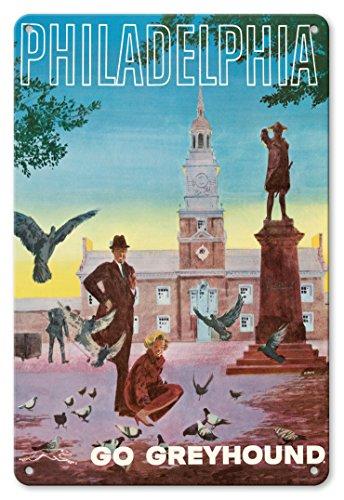 22cm x 30cm Vintage enseignes en métal - Philadelphie, États-Unis - Allez Greyhound - Hall d'Indépendance - Affiche ancienne vintage tourisme voyage du monde mondial Poster de G. Roth c.1960s