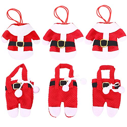 HE FEN HAN 12Pcs Silverware Holder Pockets Santa Suit for Decoration Christmas Eve