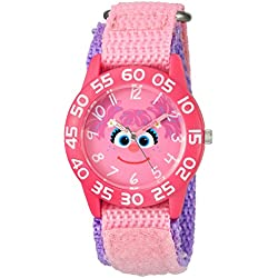 eWatchFactory Girl's 'Sesame Street' Quartz Plastic and Nylon Automatic Watch, Color:Pink (Model: W003159)