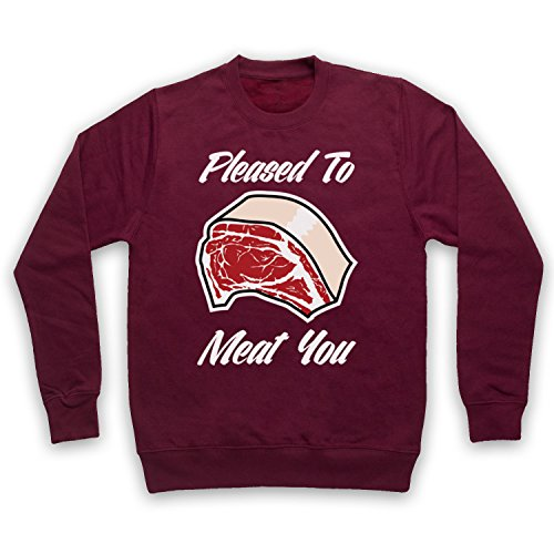 Pleased To Meat You Funny Slogan Sweat-Shirt des Adultes Bourgogne
