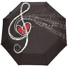 Yoshop Paraguas Plegable automático, Elegante Notas Musicales, automático, Resistente al Viento, Resistente