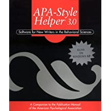 APA Style Helper 3.0: Software for New Writers in the Behavioral Sciences (CD-ROM, Individual Version)