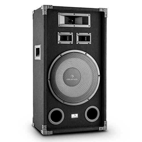 """auna PA-1200 - passiver 3-Wege Lautsprecher, Fullrange PA Box, 500 Watt max. Leistung, 30 cm (12\"""")-Tieftöner, Mitteltöner, 2 x Hochtöner, Frequenzgang: 80 Hz bis 20 kHz, schwarz"""