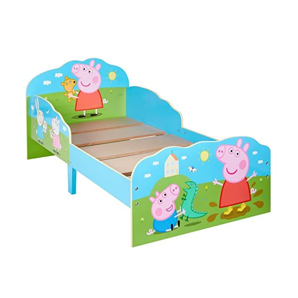 HelloHome Peppa Pig Toddler Bed with Underbed Storage, Wood, Multi, 142 x 77 x 63 cm  Perfect for transitioning your little one from cot to first big bed The perfect size for toddlers, low to the ground with protective side guards to keep your little one safe and snug Two handy underbed, fabric storage drawers 6
