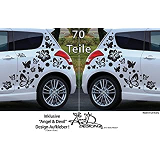 A&D design Deutschland XL Set - Autoaufkleber - Hibiskus Blumen & Schmetterlinge - 70 teilig (Weiss)