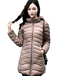 Lovache Lang Daunenjacke Damen Ultra Leicht Winter Mantel Mit Kapuze Parka  Jacke 0ed32af911