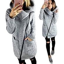 Tongshi Casual mujer con capucha capa de la chaqueta larga con cremallera con capucha Outwear Tops