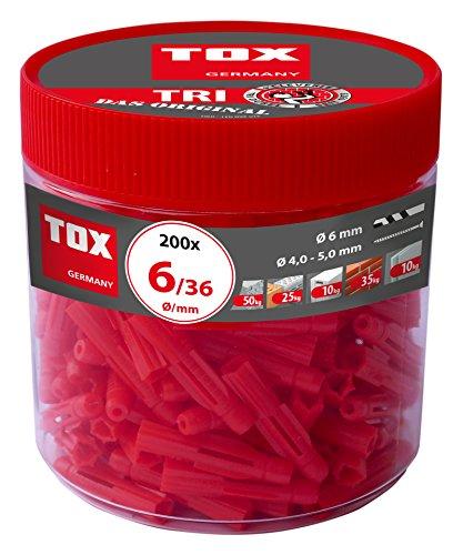 TOX Allzweckdübel Tri 6 x 36 mm in Runddose, Dübel für fast alle Baustoffe, 200 Stück, 010260031
