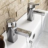 ENKI caliente y fría doble grifos para lavabo cuadrado funda latón cromo nuevo lavabo deseo