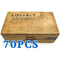 IIOOII 70pcs Rubber Stamps Vintage Wooden Box Case Alphabet Letters Number Craft